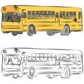 School Bus Line Drawing Stock Image