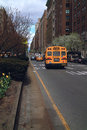 School Bus Park Avenue New York Royalty Free Stock Photos
