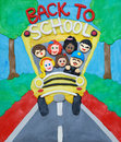 School bus on plasticine back to illustration featuring children and driver handmade scene Royalty Free Stock Image