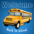School bus realistic on blue checkered background Stock Photography