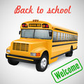 School bus realistic on striped background Royalty Free Stock Photography