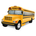 School bus realistic yellow on white background Stock Photography
