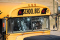 School Bus Shot Up With Bullet Holes After Shooting Royalty Free Stock Photo