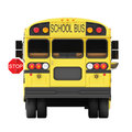 School bus stop concept on a white back view of a students with marker showing Royalty Free Stock Image