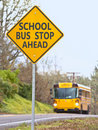 School bus stop sign Royalty Free Stock Photo