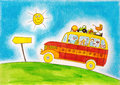 School bus trip child s drawing watercolor painting paper Royalty Free Stock Image