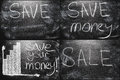 School chalkboard background with business message black set collage Stock Photography