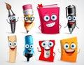 School characters vector illustration set. Education items 3D cartoon mascots Royalty Free Stock Photo