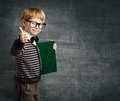 School Child in Glasses Thumbs Up, Kid Boy Hold Book Royalty Free Stock Photo
