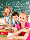 School children girl and boy in classroom Stock Image