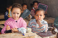 School children morocco risanni in their classroom at a moroccan basic Royalty Free Stock Photos