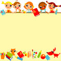 School children s background yellow place for text Stock Image