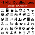 School and Children Smooth Icons Royalty Free Stock Photo