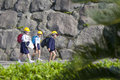 School Children Wearing Hard Hats, Sakura-jima, Japan Stock Images