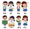 School classmate students character vector set. Back to school classmates kids elementary characters wearing uniform.