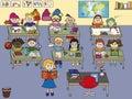 School classroom with children and teacher Stock Image