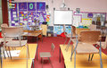 School classroom typical looking empty children s with chairs on tables desks Stock Photography