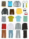 School clothes for boys a set of isolated on white background Stock Images