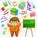 School collection cartoon teacher and items related to Stock Images