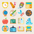 School colorful flat icons set of about Royalty Free Stock Image