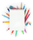School concept color pencils and notepad Stock Photos