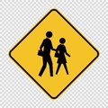 symbol school crossing sign on transparent background