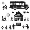School days children go to pictogram icon set Royalty Free Stock Photo