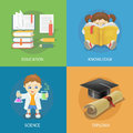 School design concept set with education diploma study flat icons
