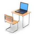 School desk with laptop the over white background Stock Images