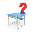 School desk question mark 3d Illustrations Royalty Free Stock Image