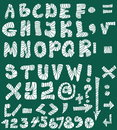 School doodle alphabet hand drawn font and numbers Royalty Free Stock Images