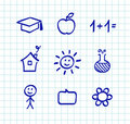 School doodle drawings and icons Royalty Free Stock Photos