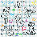 School doodle set children activity pen and chalk sketch on notebook paper Stock Photography