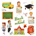School and education. 3d vector icon set. Funny cartoon characters and objects