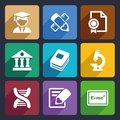 School and education flat icons set for web mobile applications Royalty Free Stock Photo