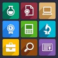 School and education flat icons set for web mobile applications Stock Image