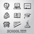 School education freehand icons set vector with globe and notebook blackboard backpack text book graduation cap bus science bulb Stock Images