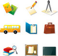 School And Education Icon Set Stock Photo