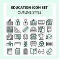 School and Education icon set in Outline / line style