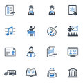 School and education icons set blue series this contains that can be used for designing developing websites as well as printed Royalty Free Stock Images