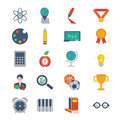 School and education icons set of modern colorful flat style vector on theme Royalty Free Stock Photos