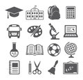 School and education icons on white background Stock Images