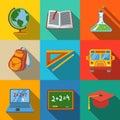 School, education modern flat icons set - globe