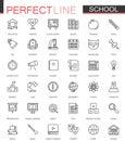 School education thin line web icons set. Outline icon design.