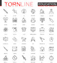 School education thin torn line web icons set. Outline dashed stroke icon design.
