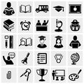 School and education vector icons set on gray isolated grey background eps file available Stock Photos