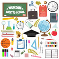 School and education workplace items. Vector flat illustration of school supplies. Royalty Free Stock Photo