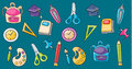 School elements clip art set in cartoon style.