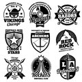 School emblems, college athletic teams sports labels, t-shirt graphics vector collection Royalty Free Stock Photo