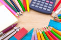 School equipment on writing desk Royalty Free Stock Photos